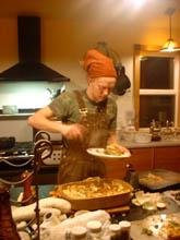 dave dishing up lasagna