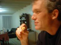 dad enjoying cheese