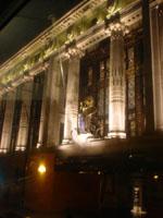 selfridges at night, through bus window